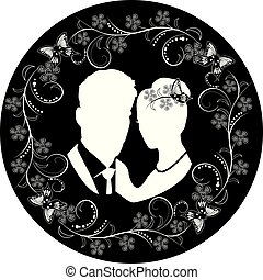 wedding silhouette with flourishes frame 3
