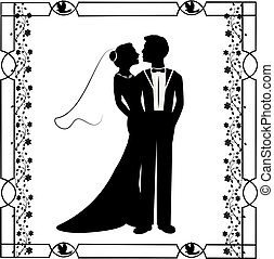 wedding silhouette with flourishes frame 4