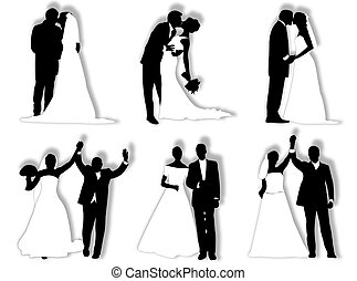 Wedding silhouettes - Bride and groom in different poses and...