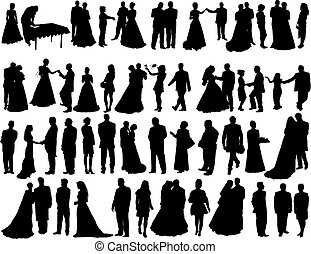wedding silhouettes - Big vector collection of wedding...