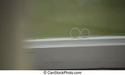 Wedding Silver Rings on the window macro closeup shoot...
