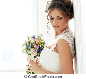 wedding., smukke, brud