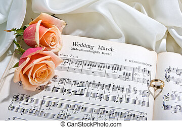 Wedding song - Sheet music of the Wedding March with roses...