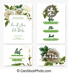 Wedding stationary kit with watercolor white roses
