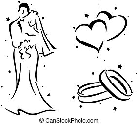 Wedding Stencil Featuring a Couple, a Pair of Rings, and a Pair of Hearts