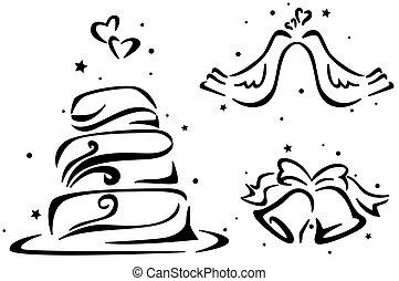 Wedding Stencil Featuring a Wedding Cake, Wedding Bells, and...