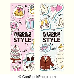 Wedding stickers banners vector illustration. Wedding decoration style. Cakes, outfits for bride and groom, jacket, white dress, shoes, bunch of flowers, ring, car with just maried text.
