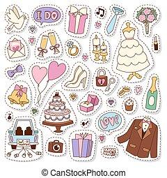 Wedding stickers icons vector illustration.
