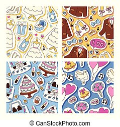 Wedding stickers seamless pattern vector illustration. Wedding patches, cakes, outfits for bride and groom, jacket, bow, white dress, shoes, cupcakes, bunch of flowers, ring, champagne.