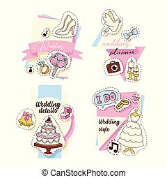 Wedding stickers set of cards vector illustration. Wedding invitations, planner, details, style. Cakes, outfits for bride and groom, jacket, white dress, shoes, bunch of flowers, ring.
