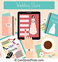 Wedding store concept flat vector illustration. Woman shopping in online shop with her touch pad