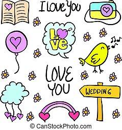 Wedding style doodles vector illustration