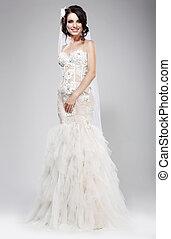 wedding, style., hochentwickelt, jungvermählt, in, weißes, braut, dress., eleganz