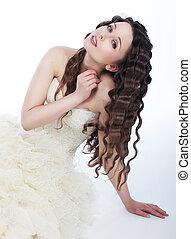 Wedding style - lovely fiancee brunette in white dress -...