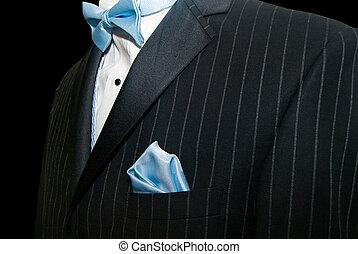 Wedding Suit - Blue bowtie with tuxedo.