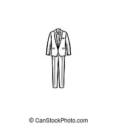 Wedding suit hand drawn sketch icon.