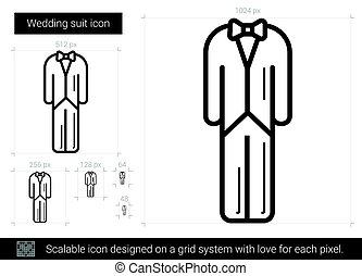 Wedding suit line icon.