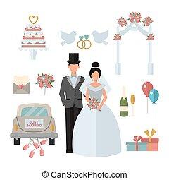 Wedding symbols bride bridegroom married couple, marriage car fat vector illustration.