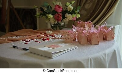 Wedding table appointments. - Table with wedding decor, wish...