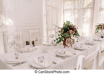 Wedding table decoration of the restaurant