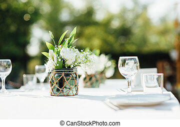 Wedding table for dinner with decorations - Wedding ...