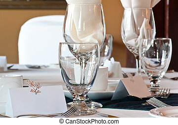 Wedding table place setting with blank place card