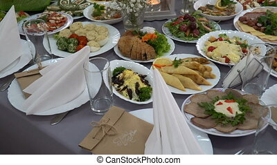 wedding table served with a meal in the restaurant