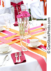 Wedding table set for fun dining during a banquet event - ...