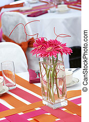 Wedding table set for fun dining during a banquet event