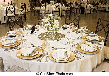 Wedding Table Setting - Wedding Table setting with golden...