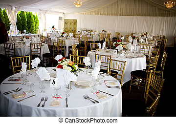 wedding table setting - table set for a wedding or catered...