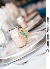 Wedding table - Table set with vintage gift jars for wedding...