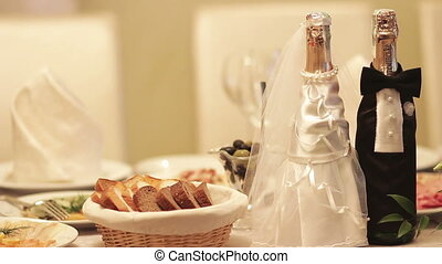 wedding table with glasses