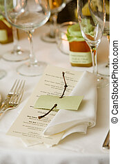 Wedding table with menu