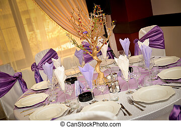 Wedding table with plate, napkin, cutlery on mauve color