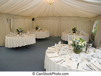 Wedding Tables in Marquee - Tables ready for wedding meal in...