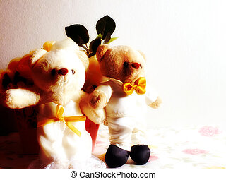 wedding teddy bear groom and his bride with filter color