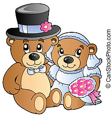 Wedding teddy bears - vector illustration.