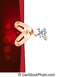 Wedding template with two gold rings
