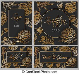 Wedding Templates Set With Hand Drawn Peony Flowers