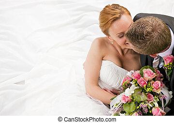 Wedding - tenderness - wedding couple hugging and kissing, ...