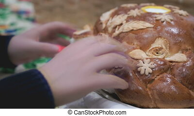 The lush delicious loaf with a tablecloth - Wedding. The...