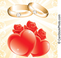 wedding theme with golden rings, roses and hearts