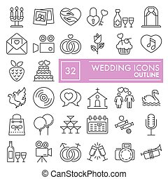 Wedding thin line icon set, love symbols collection, vector sketches, logo illustrations, celebration signs linear pictograms package isolated on white background, eps 10.