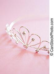 Wedding Tiara On Bridal Pink Background - silver princess...
