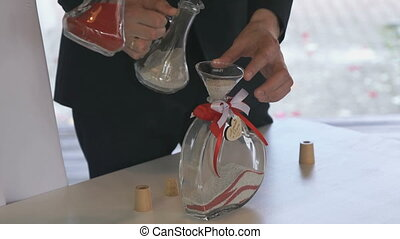 Wedding traditional sand ceremony indoors - Sand ceremony at...