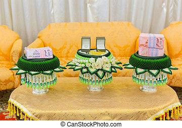 Wedding Treasure in Thai luxury traditional Wedding Ceremony.
