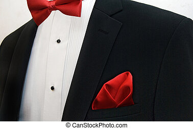 Wedding Tuxedo - Red bow tie with handkerchief accenting a...