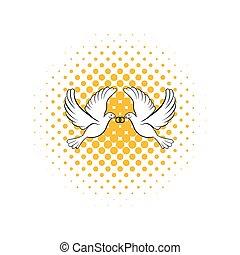 Wedding two doves comics icon