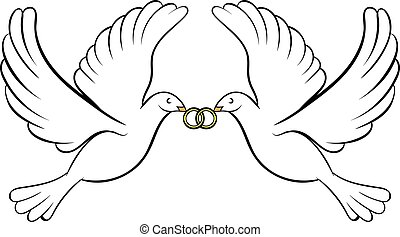 Wedding two doves icon cartoon - Wedding two doves icon in...